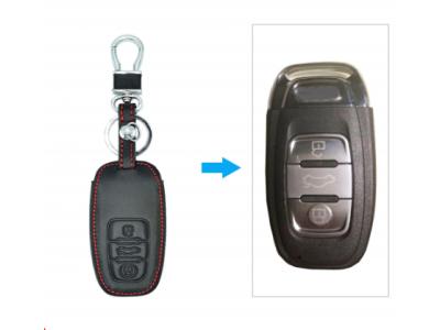 Кожено защитно калъфче за AUDI с 3 Бутона, подходящо за автомобилни ключове Audi Sline A3 A5 Q3 Q5 Q7 A6 C5 C6 A4 B6 B7 B8 TT 80 S6