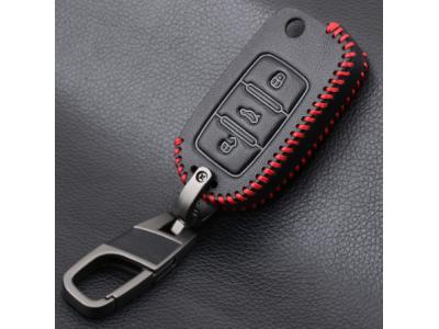 Кожено защитно калъфче-ключодържател с 3 бутона за автомобилен ключ AUDI Volkswagen SKODA