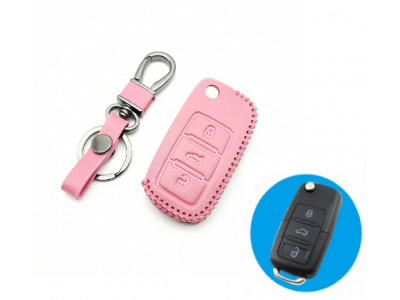 Кожено калъфче-ключодържател за сгъваем автомобилен ключ AUDI Volkswagen SKODA SEAT
