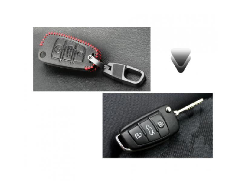 Кожено защитно калъфче за AUDI с 3 Бутона, подходящо за автомобилни ключове Audi A1 A3 A4 A6 A5 A7 A8 Q3 Q5 S3 S4 S5 S6
