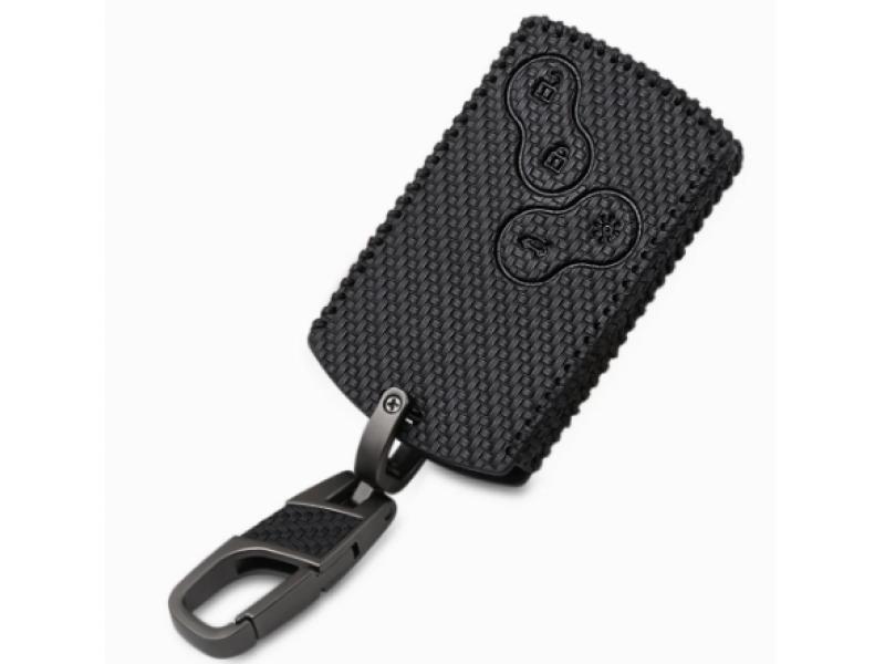 Кожено калъфче + ключодържател за автомобилен ключ Dacia - Renault.