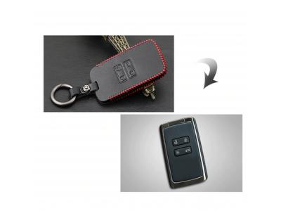 Кожено защитно калъфче за RENAULT и DACIA с 4 Бутона, подходящо за автомобилни ключове Renault Koleos Kadjar Scenic Megane Sandero 2017 2018