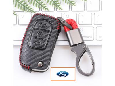 Кожено калъфче-ключодържател за сгъваем автомобилен ключ Ford с 3 бутона