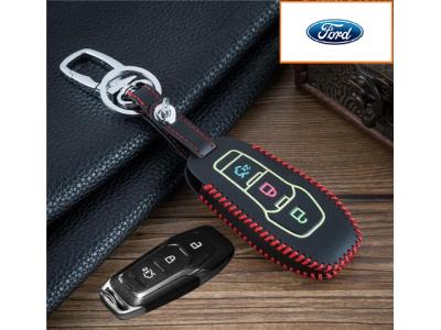 Предпазно кожено калъфче ключодържател с 3 бутона за автомобилен ключ Ford Fusion Mondeo F-150 Explorer Edge 2015 2016 2017 2018