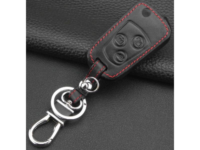 Предпазно кожено калъфче ключодържател с 3 бутона за автомобилен ключ Ford Focus KA Mondeo Fiesta