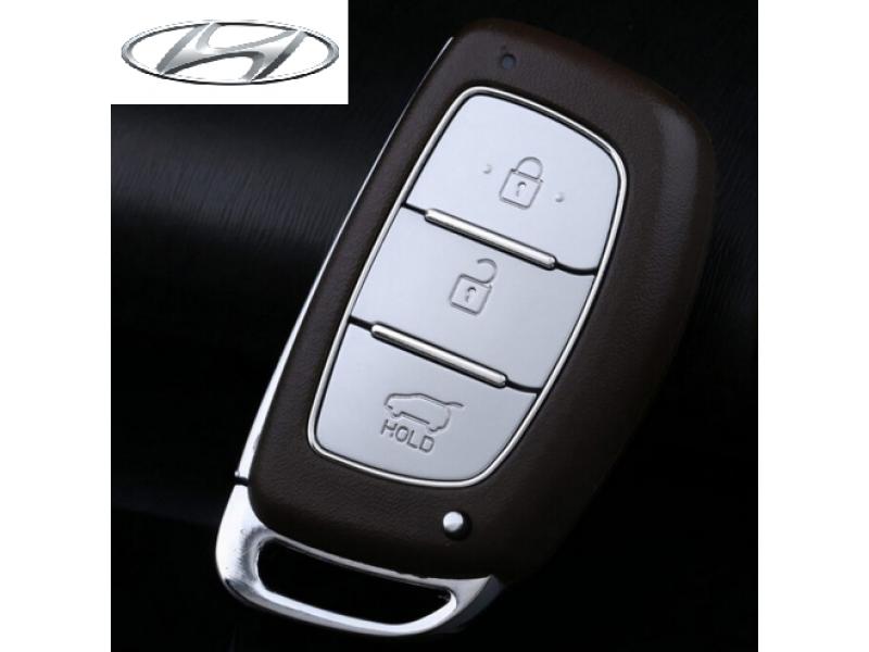Кожено калъфче ключодържател с 3 бутона за автомобилен ключ Hyundai и KIA