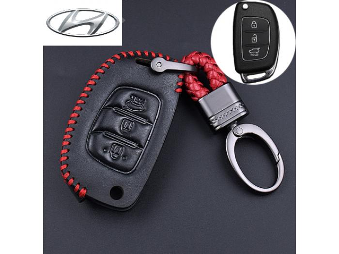 Кожено калъфче ключодържател с 3 бутона за автомобилен ключ Hyundai I10 I20 IX25 IX35 IX45 Elantra Accent