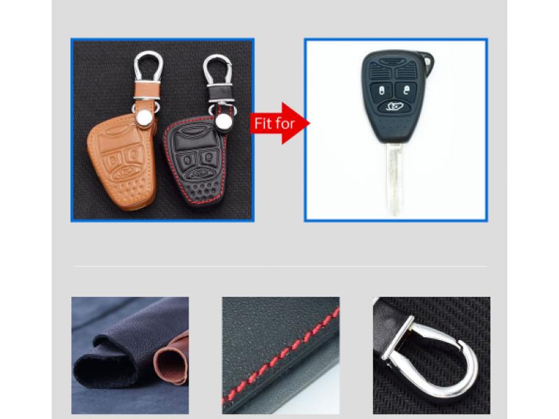 Кожено защитно калъфче за JEEP с 3 Бутона, подходящо за автомобилни ключове Jeep Wrangler Grand Cherokee Compass Patriot