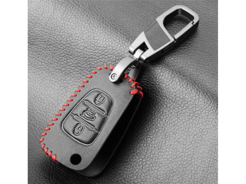 Фосфорно кожено защитно калъфче-ключодържател с 3 бутона за автомобилен сгъваем ключ Hyundai и Kia