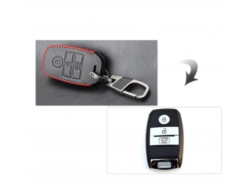 Предпазно кожено калъфче ключодържател с 3 бутона за автомобилен ключ Kia Rio Sportage 2016 Ceed Sorento Cerato K2 К3 К4 К5