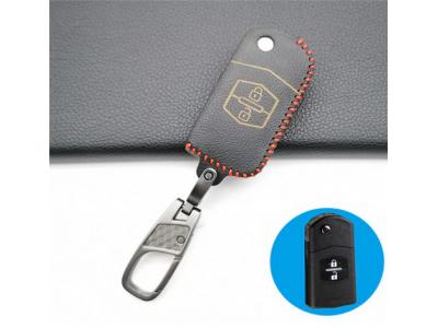 Кожено калъфче-ключодържател за сгъваем автомобилен ключ Mazda