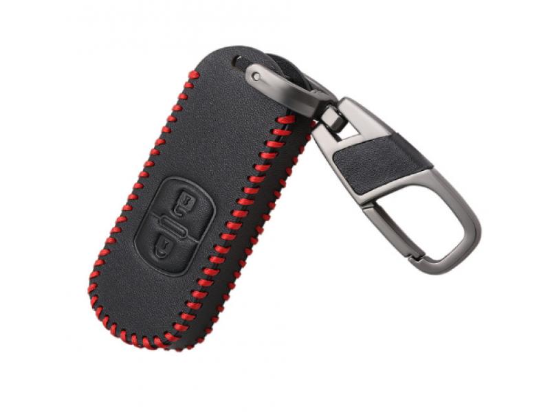 Кожено калъфче-ключодържател с 2 бутона за безконтактен автомобилен ключ MAZDA