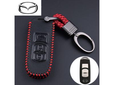 Кожено защитно калъфче-ключодържател с 2 и 3 бутона за автомобилен ключ Mazda 2 3 6 5 8 CX-5 CX-5 CX-3 CX-4 CX-7 CX-9 AXELA
