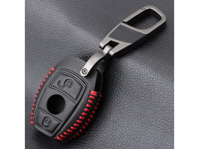 Предпазно кожено калъфче ключодържател с 2 бутона за автомобилен ключ Mercedes Benz E C Class C260