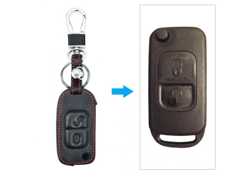 Предпазно кожено калъфче ключодържател с 2 бутона за сгъваем автомобилен ключ Mercedes Benz E113 ACES W168 W202 W203