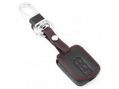 Предпазно кожено калъфче ключодържател с 2 бутона за автомобилен ключ Nissan Qashqai Micra Navara Almera