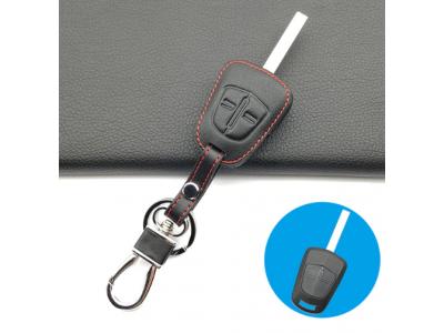 Кожено защитно калъфче-ключодържател с 2 бутона за автомобилен ключ Opel Corsa Meriva Agila
