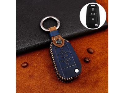 Кожено калъфче+ключодържател за автомобилен ключ PEUGEOT CITROEN
