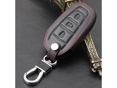 Кожено защитно калъфче за Peugeot с 3 Бутона подходящо заPeugeot 308 408 508 2008 3008 4008 5008