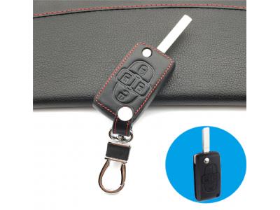Предпазно кожено калъфче ключодържател с 4 бутона за автомобилен ключ Peugeot 1007 807