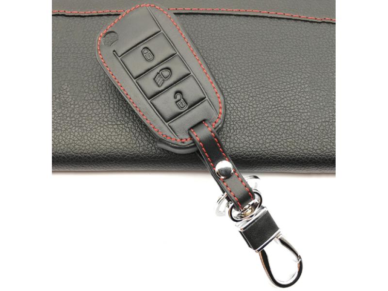 Кожено защитно калъфче-ключодържател с 3 бутона за автомобилен ключ Peugeot 3008 208 308 508 408 2008 RCZ 307