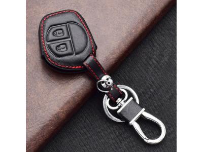 Кожено защитно калъфче-ключодържател с 2 бутона за автомобилен ключ Suzuki SX4 Swift Grand Vitara Лиана