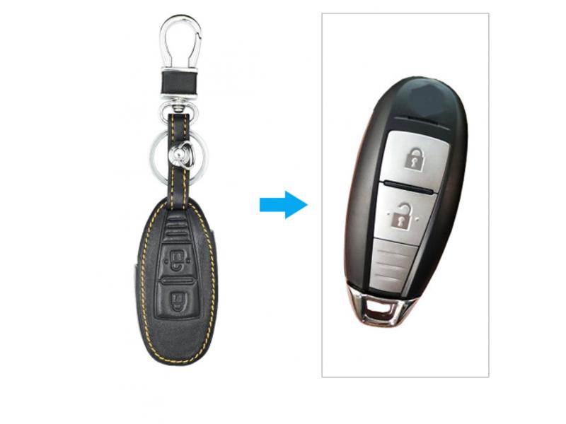 Кожено защитно калъфче-ключодържател с 3 бутона за автомобилен ключ Suzuki Grand Vitara Ignis Liana Samurai Swift Sx4