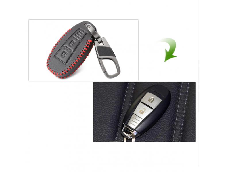 Кожено защитно калъфче-ключодържател с 3 бутона за автомобилен ключ Suzuki Vitara Swift Ignis Kizashi SX4 Baleno Ertiga 2016 2017 2018