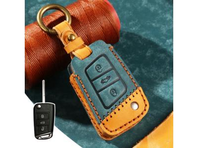 Кожено калъфче-ключодържател за сгъваем автомобилен ключ SKODA VOLKSWAGEN SEAT