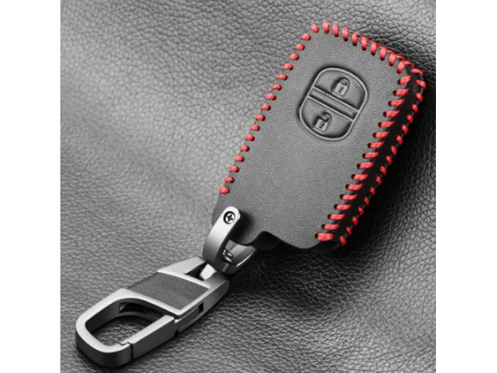 Кожено калъфче ключодържател с 2 бутона за автомобилен ключ Toyota и Lexus
