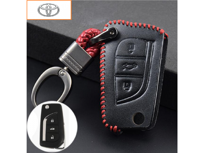 Кожено калъфче ключодържател с 3 бутона за автомобилен ключ Toyota Corolla Avensis RAV4 Auris Chave Camry Yaris 2014 Hilux 2007
