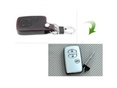 Кожено калъфче ключодържател с 3 бутона за автомобилен ключ Toyota и Lexus