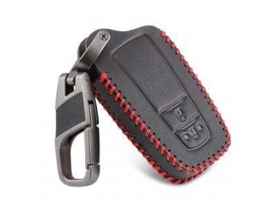 Кожено калъфче ключодържател с 2 бутона за автомобилен ключ Toyota CHR C-HR Camry Prius Prado 2016 - 2018