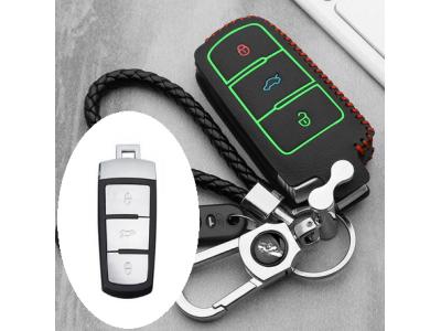 Кожено калъфче ключодържател с 3 бутона  за автомобилен ключ Volkswagen