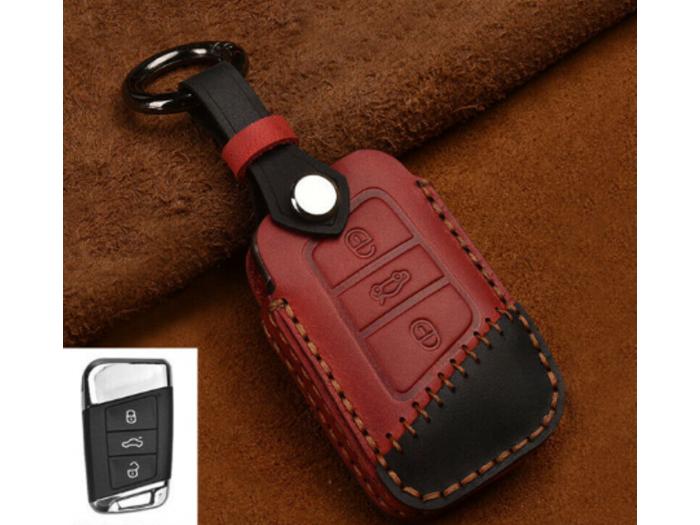 Кожено калъфче ключодържател за автомобилен ключ VW SKODA SEAT