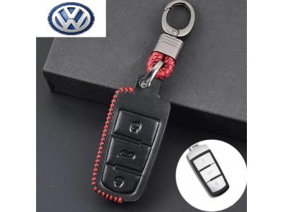 Предпазно кожено калъфче ключодържател с 3 бутона  за автомобилен ключ Volkswagen CC Passat B6 B7 Passat 3C R36 B5 B7L