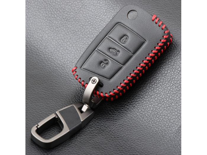 Kейс от естественна кожа подходящ за автомобилни ключове VW golf 7 GTE GTD GTI MK7/POLO 2015 2016 / Skoda Octavia A7 RS