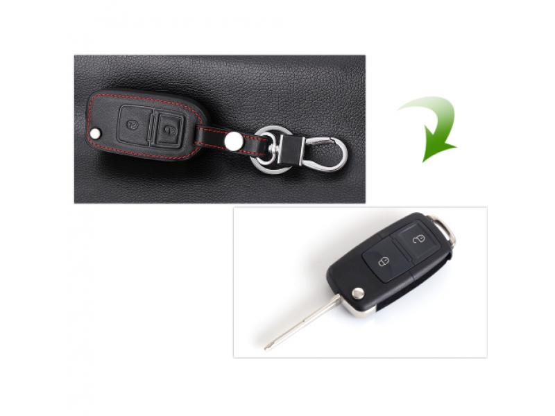 Кожено защитно калъфче за VW с 2 Бутона подходящо за Volkswagen Seat Skoda