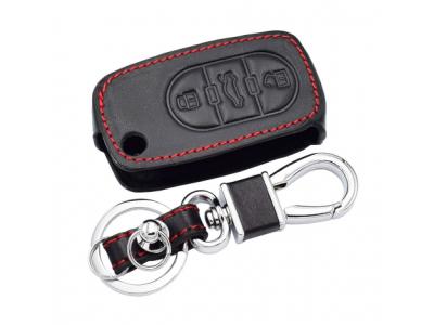 Kожено калъфче с 3 бутона за автомобилен ключ от естественна кожа подходящ за Audi, Volkswagen, Skoda