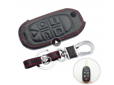 Кожено калъфче-ключодържател за сгъваем автомобилен ключ Volvo