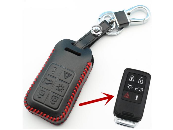 Кожено защитно калъфче за Volvo с 6 Бутона, подходящо за автомобилни ключове Volvo S60 / S80 / V60 / XC60 / XC70