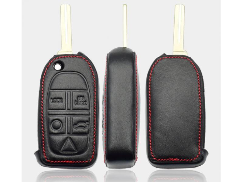 Кожено калъфче-ключодържател с 5 бутона за автомобилен ключ Volvo S80 S60 V50 V70 XC70 XC90
