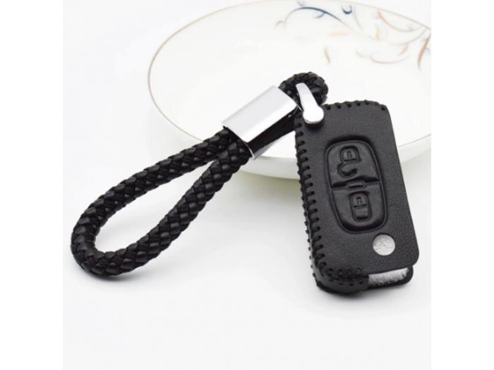 Кожено калъфче ключодържател за сгъваем автомобилен ключ Citroen и Peugeot с 2 Бутона
