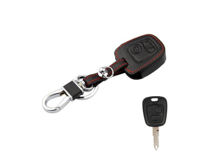 Предпазно кожено калъфче ключодържател с 2 бутона за автомобилен ключ Toyota Aygo, Peugeot 106,107,206,207,307, Citroen C1,C2,C3, Xsara, Picasso