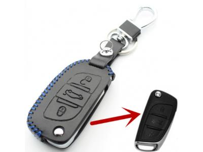 Кожено калъфче-ключодържател с 3 бутона за автомобилен ключ Citroen DS3 / DS4 / DS5 / DS6 / C4 / C5